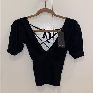 Black v neck open tie back ribbed t shirt